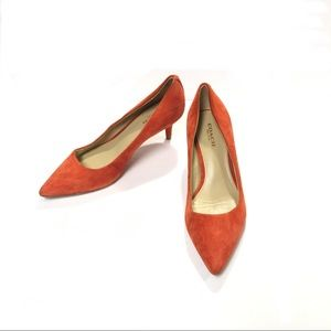 COACH Orange Suede Kitten Heel Pumps Size 6.5B